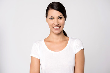 Casual young woman posing