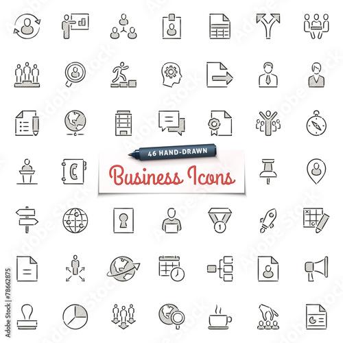 Zdjęcia na płótnie, fototapety, obrazy : Hand-Drawn Business Icons