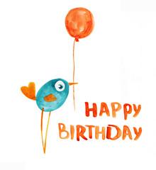 Bird blue with balloon. Birthday greeting. Watercolor