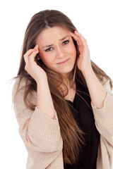 Young blonde girl with headache