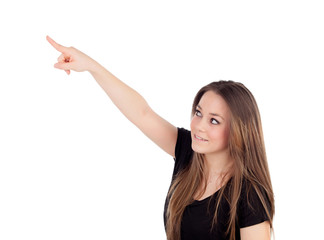 Young blonde girl pointing with the finger