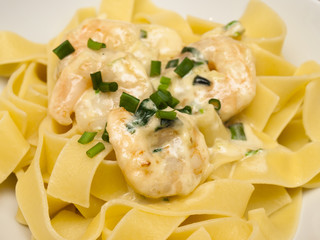 Pappardelle with shrimp