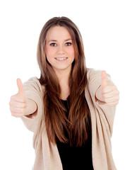 Smiling woman saying Ok