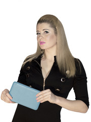 the business woman with the blue tablet