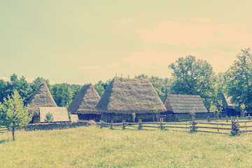 Vintage Effect Of Romanian Village In The Carpathian Mountains