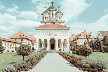 Vintage Effect Of The Coronation Cathedral in Alba Iulia City
