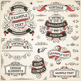 Fototapety Vintage Ornaments And Ribbons