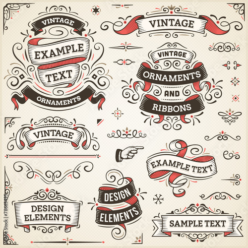 Fototapeta Vintage Ornaments And Ribbons
