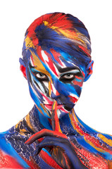 girl in bright colors of body art