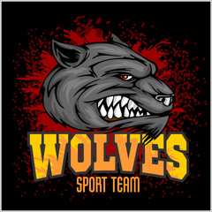 Wolf head mascot illustration