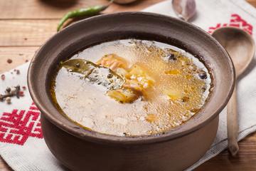 National Russian fish soup, closeup