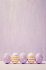 Colorful easter eggs. Background with easter eggs. With retro fi