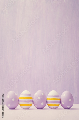 Colorful easter eggs. Background with easter eggs. With retro fi - 78666042