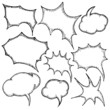 Set of Color Flat Comics Bubbles. Isolated on white. Vector sket