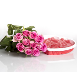 Pink Roses and Candy Hearts
