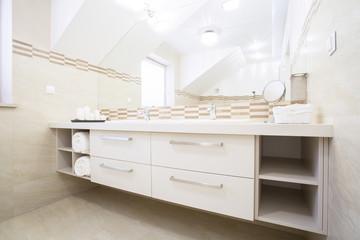 Cozy bathroom in elegant apartment