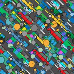Car Seamless Wallpaper. Vector illustration