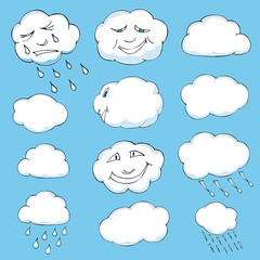 Cute doodle of clouds. Vector illustration