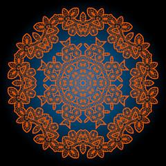Henna coloured outlined mandala background