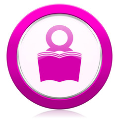 book violet icon reading room sign bookshop symbol