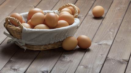 hicken eggs in a basket
