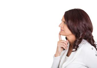 Side profile serious beautiful mature woman thinking