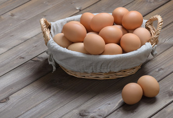 chicken eggs in a basket