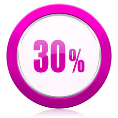30 percent violet icon sale sign