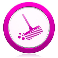 broom violet icon clean sign
