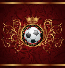 Football background with a gold crown