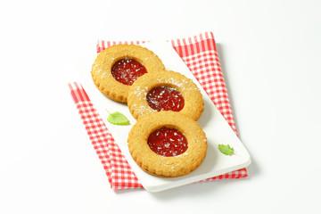 Jam filled shortbread cookies