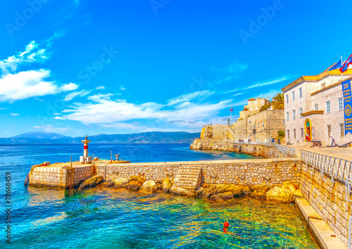 poster of the pictorial port of Hdra island in Greece. HDR processed