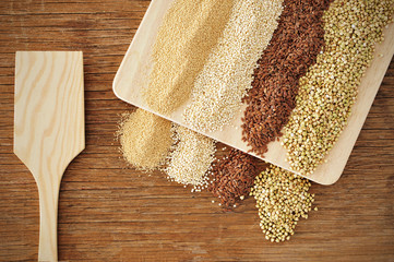 amaranth, quinoa, brown flax and buckwheat seeds