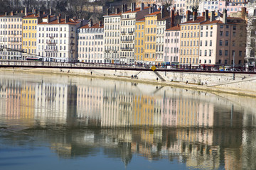 The cityscape of old Lyon as seen from across the Rhone river