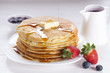 Постер, плакат: Delicious sweet American pancakes on a plate with fresh fruits