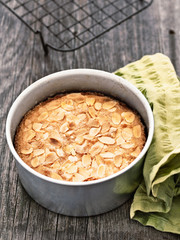 rustic swedish almond cake in baking tin