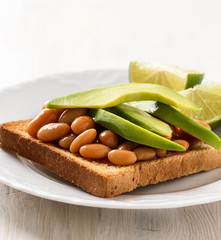 Avocado and beans on toast