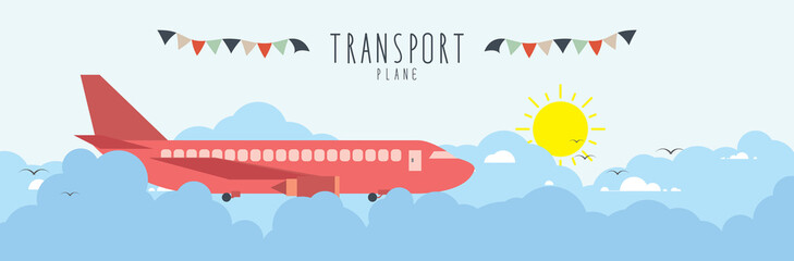 Plane in the sky, on cloud. (transportation)