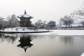 beautiful gyeongbok palace in soul, south korea - snow, winter