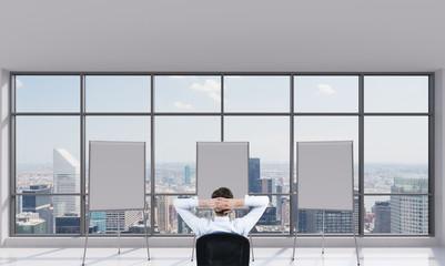three blank desk in office