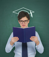 student with drawing bachelor hat