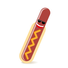happy hot dog illustration