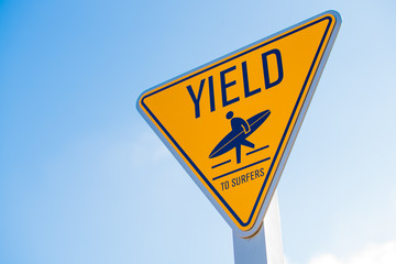 Yield to surfer sign in Southern California