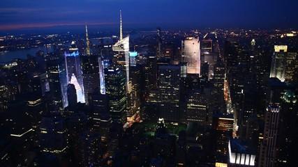 New York - Manhattan aerial night view