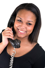 young african woman talking on phone