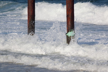 Ocean waves with pilings