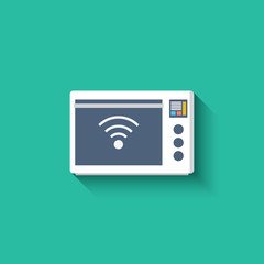 Smart microwave oven icon. Smart kitchen appliances. Internet of