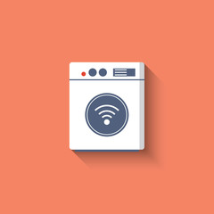 Smart washing mashine icon. Smart kitchen appliances. Internet