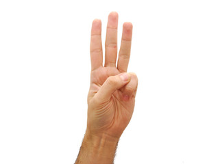 Man hand showing three fingers isolated on white background