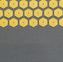 top view of a section of an acupressure mat